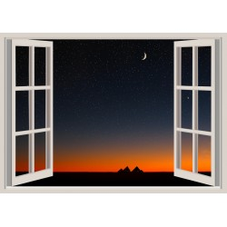 Mural ventana puesta de sol - vinilo decorativo