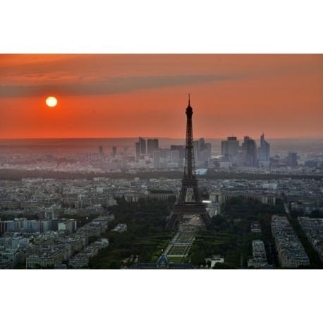 Mural Eiffel París puesta sol
