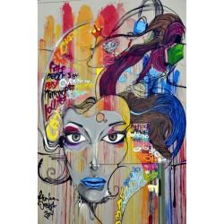 Fotomural vinilo mujer graffiti