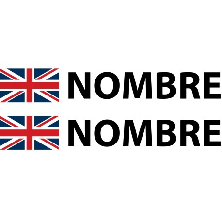 Pegatina bandera inglesa nombre