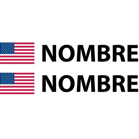 Pegatina bandera americana nombre