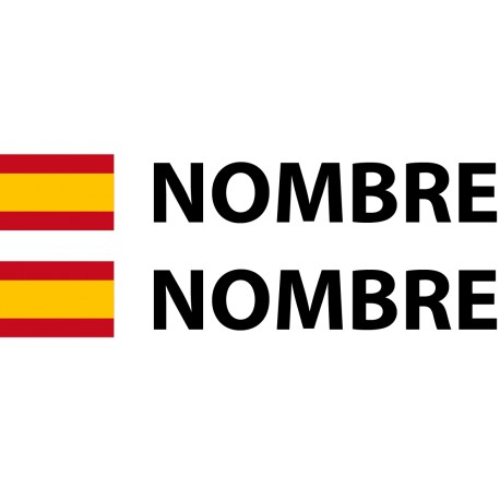 Pegatina bandera española nombre