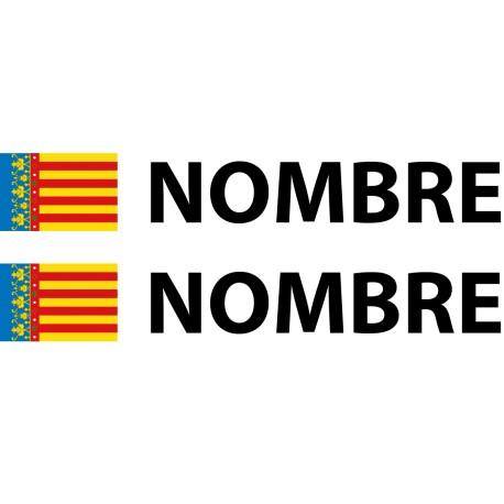 Pegatina bandera Valencia nombre