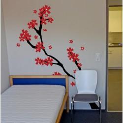 Vinilo decorativo árbol flores rojas