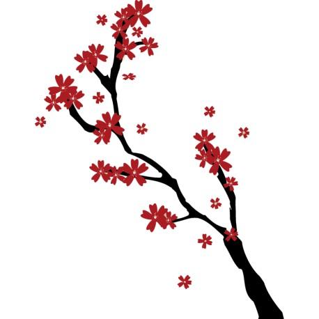 Vinilo pared árbol flores rojas