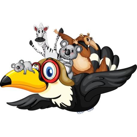 Vinilo infantil tucán aviador