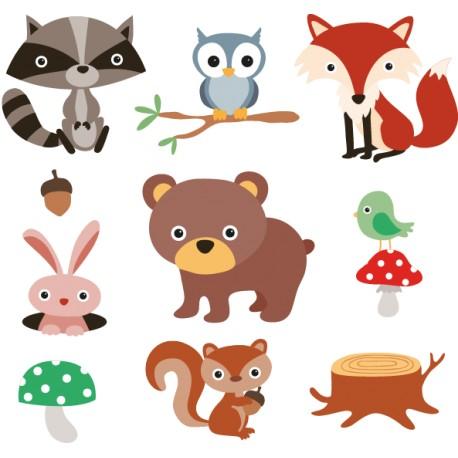 Vinilo infantil animales bosque