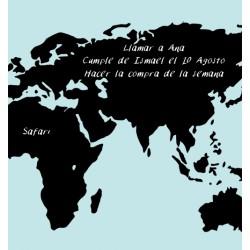 Vinilo pizarra mapa del mundo