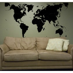 Vinilo mapa mundo fronteras