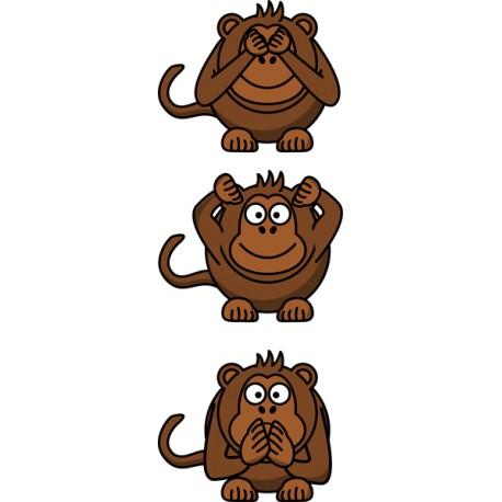 Vinilo infantil 3 monos