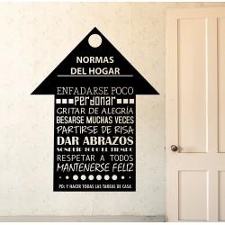 Vinilo normas del hogar casa