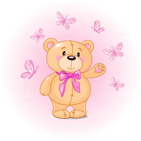 Vinilo infantil oso mariposa