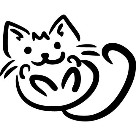 Pegatina gato panza arriba