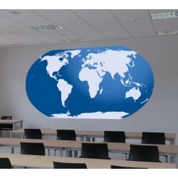 Vinilo mapa del mundo azul
