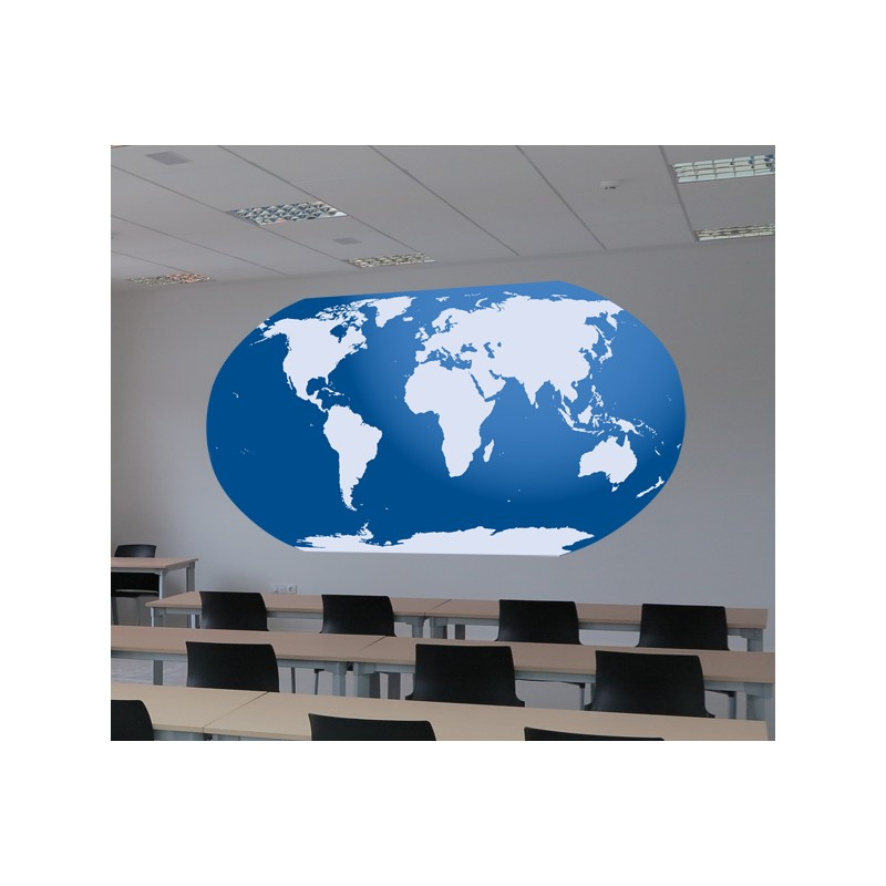 Vinilo mapa del mundo azul for Vinilo mapa del mundo