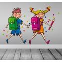 Vinilo infantil pareja colegio