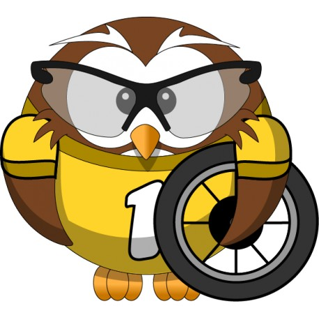 Vinilo negocio búho rueda