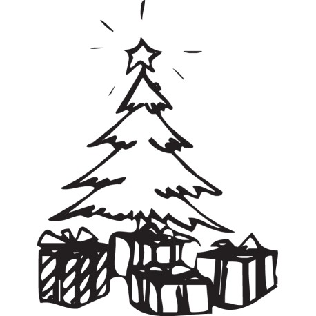 Vinilo decorativo árbol y regalos