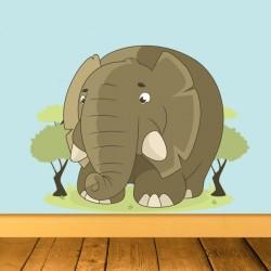 Vinilo elefante árboles