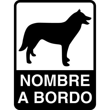 Pegatina perro a bordo personalizable