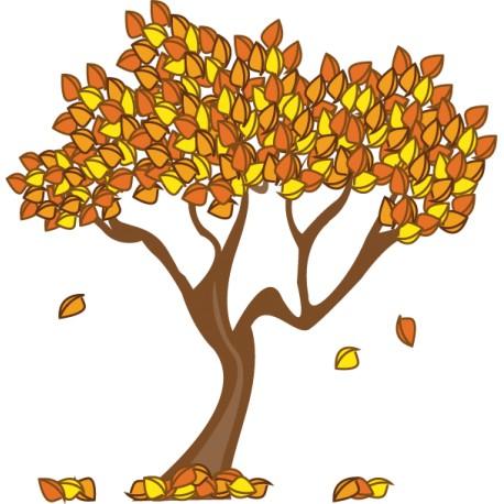 Vinilo decorativo árbol hojas otoño