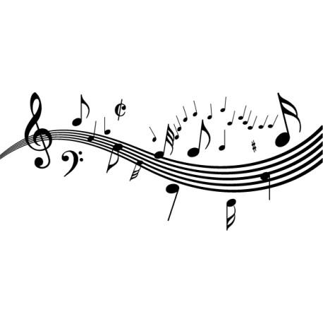 Vinilo música pentagrama y notas