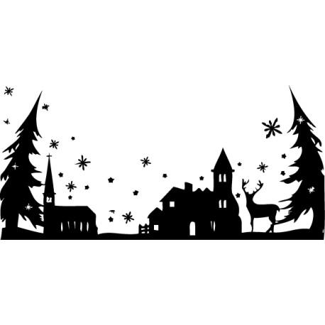 Vinilo ciudad Navidad