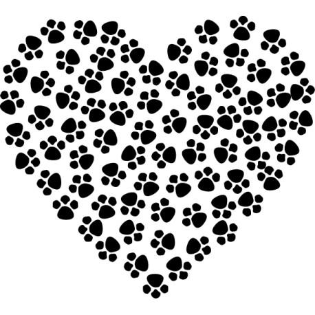 Vinilo corazón huellas mascotas