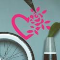 Vinilo corazón y rosa