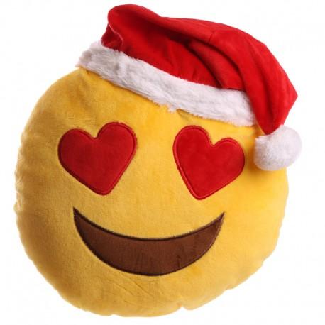 Cojín emoji ojos corazón Navidad