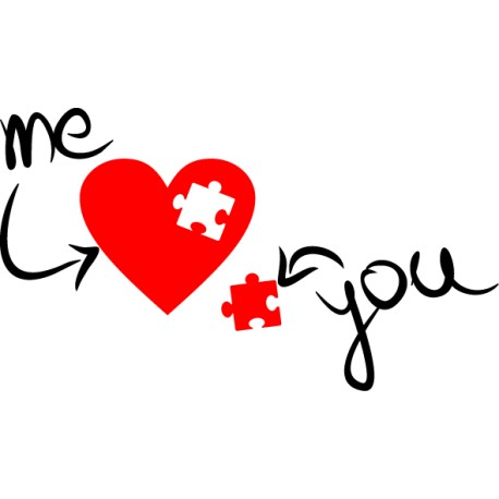 Vinilo corazón puzzle amor