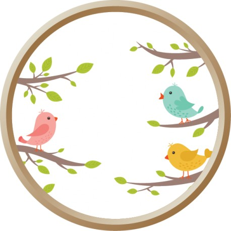 Vinilo mirilla pájaros rama