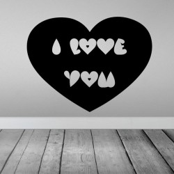 Adhesivo i love you corazón