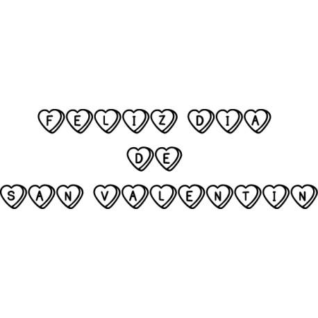 Vinilo texto San Valentín corazones