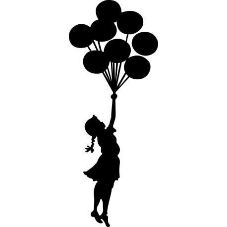 Vinilo portátil niña Banksy globos