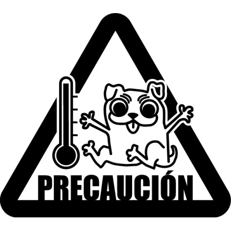 Pegatina precaución perro coche