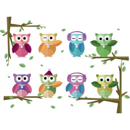 Vinilos infantiles de arboles con buhos