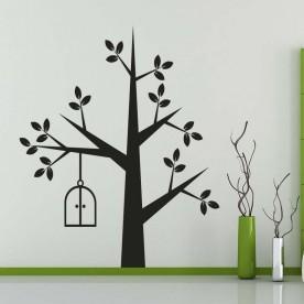 Vinilo árbol y jaula
