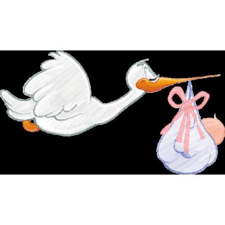 Vinilo infantil cigüeña y bebé