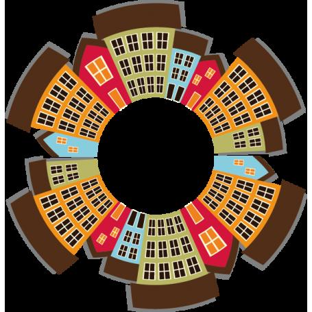 Vinilo decorativo ciudad circular