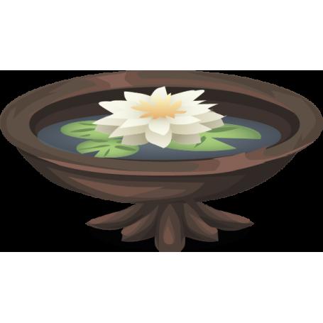 Vinilo decorativo fuente flor