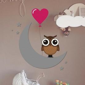 Vinilo búho luna corazón