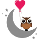 Vinilo infantil búho luna corazón