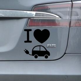 Pegatina I love coche eléctrico
