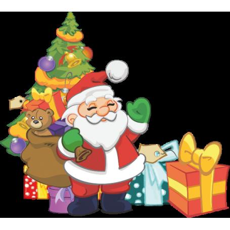 Vinilo navideño ilustración Navidad papa noel regalos