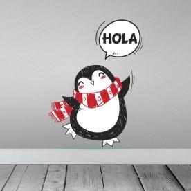 Vinilo pingüino saludo