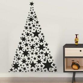 Adhesivo árbol Navidad estrellas