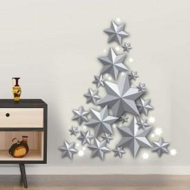Vinilo árbol estrellas plateadas