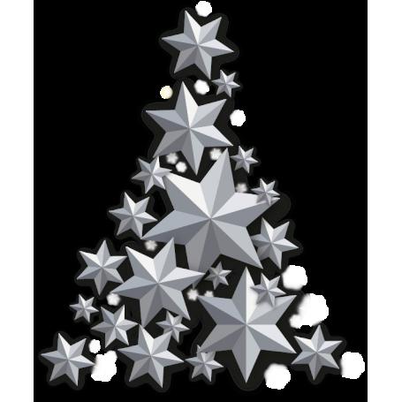 Vinilo decorativo árbol estrellas plateadas