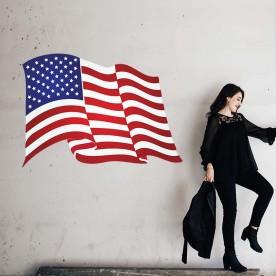 Vinilo bandera americana ondeando